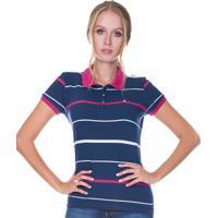 Camisa Pólo Azul Marinho Manga Curta feminina  e553b23c56432