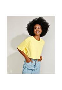 T-Shirt Feminina Mindset Oversized Cropped Manga Curta Decote Redondo Amarela
