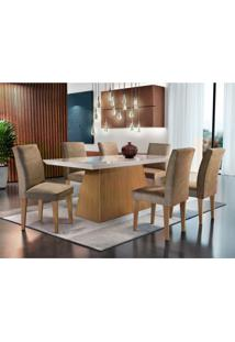 Conjunto De Mesa De Jantar Luna Com Vidro E 6 Cadeiras Grécia Veludo Chocolate E Off White