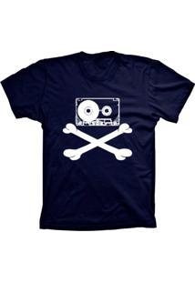 Camiseta Baby Look Lu Geek Fita Caveira Azul Marinho