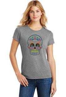 Camiseta Caveira Mexicana Feminina - Feminino-Cinza