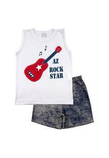 Pijama Infantil Ano Zero Menino Meia Malha E Malha Estampada Az Rock Star - Vermelho