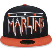 554762a2509c7 Boné New Era 5950 Miami Marlins Aba Reta Preto
