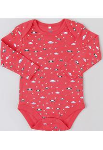 Body Infantil Estampado De Naves Espaciais Manga Longa Gola Careca Vermelho