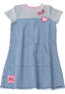 Vestido Momi Manga Curta Jeans
