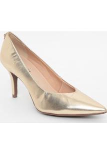 Scarpin Em Couro Metalizado- Dourado- Salto: 8Cmjorge Bischoff