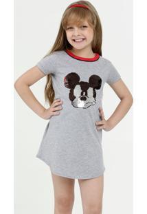 Vestido Infantil Paetê Reversível Mickey Disney