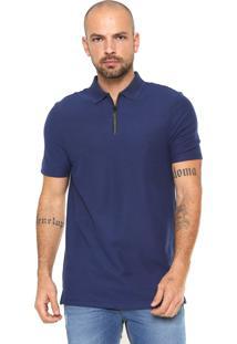 Camisa Polo Calvin Klein Slim Com Zíper Azul cf16b89758b17