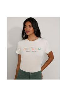 """Camiseta Feminina Manga Curta Canelada """"Optimism"""" Decote Redondo Off White"""