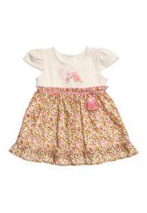 Vestido Em Cotton Barrado Tropical Para Bebê - Anjos Baby Amarelo