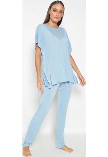 Pijama Com Laise- Azul- Fruit De La Passionfruit De La Passion