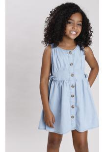 Vestido Jeans Infantil Com Botões E Laço Azul Claro