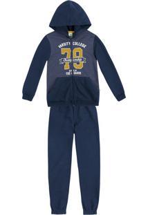 Conjunto Infantil Menino Com Jaqueta E Calça Em Moletom Peluciado Puc