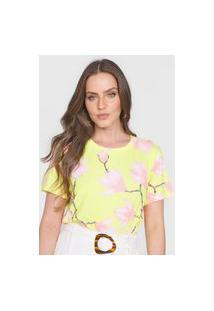 Camiseta Lança Perfume Floral Amarela/Rosa