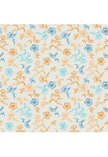 Papel De Parede Adesivo Flor Laranja E Azul (0,58M X 2,50M)