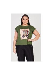 T-Shirt Feminina Elegance Com Aplicação De Recorte Sublimado E Estampa Frontal Centralizada