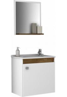 Conjunto Para Banheiro Siena Madeira Rústica E Branco
