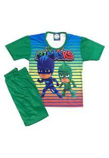 Pijama Infantil Kidsline Malha Fria Verão Personages Dupla Verde