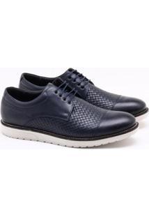 Sapato Social Ferracini Smart Couro Masculino - Masculino-Azul Escuro