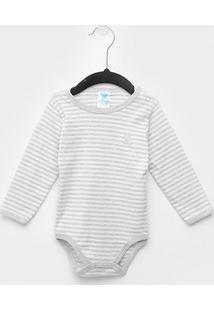 Body Bebê Pulla Bulla Manga Longa Listrado - Masculino-Mescla