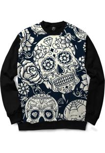 Blusa Bsc Mexican Skull Roses White Full Print - Masculino
