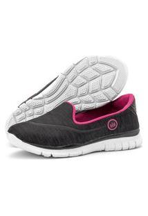 Tênis Caminhada Feminino Esportivo Sapatilhas Slipper Sapatore Preto