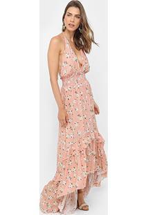 Vestido Farm Mullet Longo Estampado Frente Única - Feminino