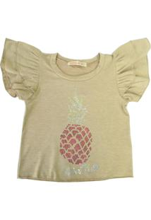 Camiseta Gira Baby Kids Infantil Abacaxi Bege