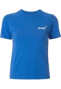 Ader Error Camiseta Slim Com Estampa De Logo - Azul