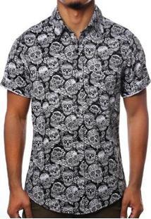 Camisa Camaleão Urbano Caveiras Diamond Masculina - Masculino-Preto