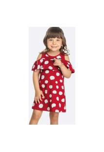 Vestido Infantil Open Shouder Bolinhas Tam 1 A 3