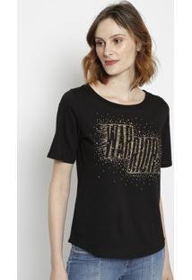 Camiseta Com Bordados- Preta & Dourada- Tritontriton