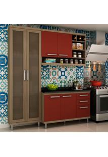 Cozinha Compacta New Vitoria 10 Avelã Tx/Rubi - Hecol