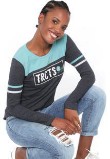 Camiseta Tricats Girly Grafite/Azul