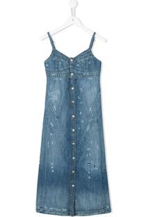 Diesel Kids Vestido Jeans Destroyed - Azul