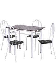 Conjunto De Mesa Monique Com 4 Cadeiras Branca Preto Flor