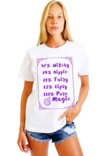 Camiseta Feminina Joss Pure Magica Roxo Branco