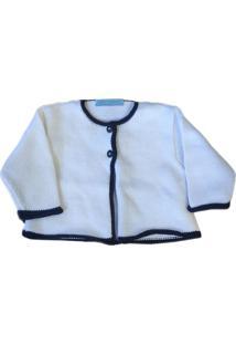 Casaco Baby Chocolate Tricot Branco E Azul