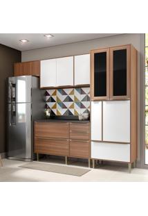 Cozinha Compacta Calábria 10 Portas Com Tampo E Pés Nogueira/Branco - Multimóveis