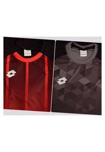 Kit De 2 Camisas Lotto Preta E Vermelha