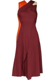Victoria Beckham Vestido Midi Drapeado Com Detalhe Posterior - Vermelho