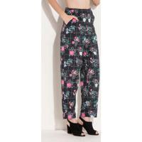 6de343641 Calça Soltinha Floral Preta Com Bolsos Quintess