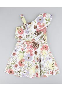 Vestido Infantil Evasê Um Ombro Só Estampado Floral Com Babado Branco