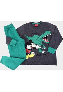 Pijama Longo Infantil Evanilda Disney Mickey - Masculino-Mescla