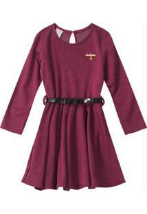 Vestido Vinho Evasê Em Jacquard Xadrez