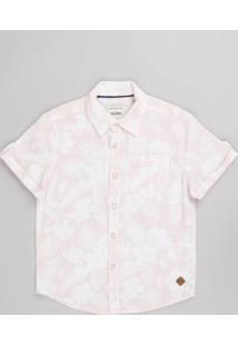 Camisa Infantil Estampado Floral Com Bolso Manga Curta Rosa Claro
