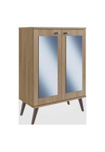 Estante Retrô Com Espelho, 2 Portas E 3 Prateleiras Oak Completa Móveis