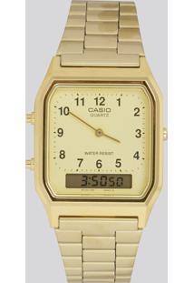 Relógio Analógico Casio Feminino - Aq230Ga9Bmqu Dourado - Único