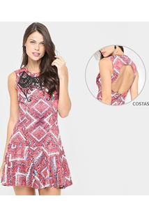 Vestido Colcci Peplum Curto Estampado - Feminino
