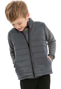 Jaqueta Infantil Em Matelassê Cinza